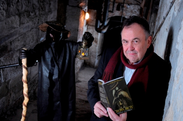 Philip Caveney with Plague Doctor on The Close