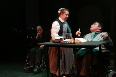 (l - r) John Edgar as Poole, Emma McCaffrey as Miriam Jekyll and Stephen Tait as Dr Jekyll Photos: Douglas Jones