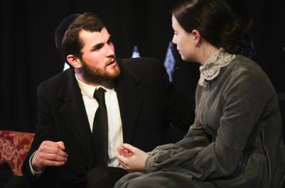 Joe Shaw as Shylock with Kirsty Findlay as Jessica. Photos: Aliza Razel