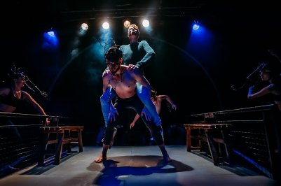 Douglas Clark as Alan Strang Samuel Burkett as Nugget, the God Equus Photo: Mihaela Bodlovic.