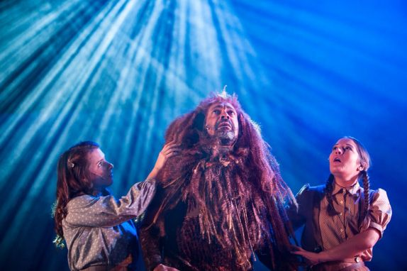 l.tor: Charlotte Miranda Smith as Susan, Ben Onwukwe as Aslan, and Claire-Marie Sneddon as Lucy. Photos. Royal Lyceum Theatre.