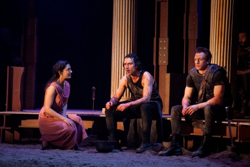Amiera Darwish, left, as Briseis; Ben Turner, centre; & Mark Holgate, right, as Patroclus.