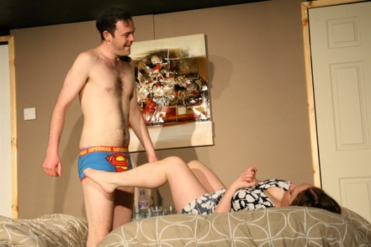 Martin Donaghy as Mark and Angela Darcy as Lisa. Photo. Traverse theatre.