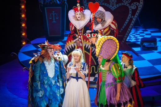 Photo credit Drew Farrell. (L-R) David Carlyle as Gryphon, David James Kirkwood as cast, Jess Peet as Alice, Gabriel Quigley as Queen of Hearts, John Macaulay as King, Alan Francis as Duchess, & Tori Burgess as cast.